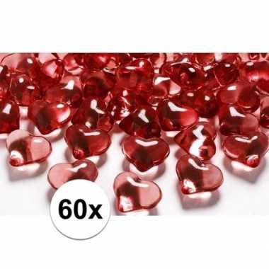 Valentijn rode decoratie hartjes diamantjes 60 stuks kado