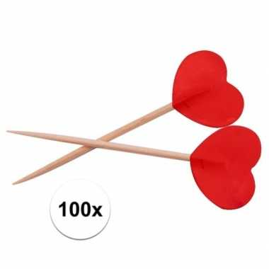 Valentijn rode hartjes cocktailprikkers 100 stuks kado
