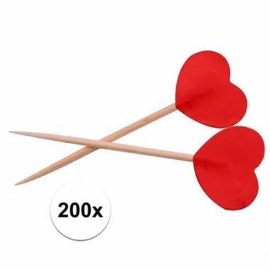 Valentijn rode hartjes cocktailprikkers 200 stuks kado