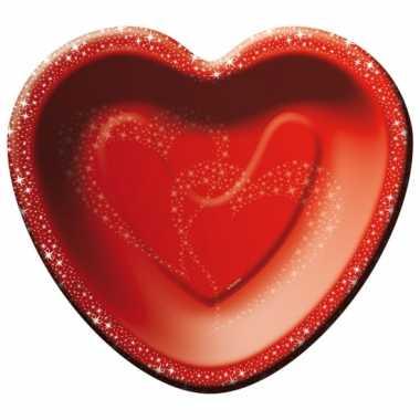 Valentijn rode hartjes feestbordjes kado