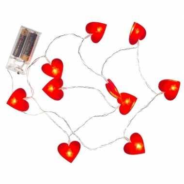 Valentijn rode hartjes lichtsnoer 120 cm kado