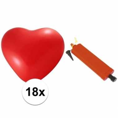 Valentijn rode hartjesballonnen 18 stuks inclusief ballonpomp kado