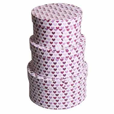 Valentijn rond kado doosje hartjes paars 18 cm