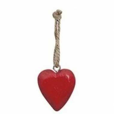 Valentijn rood hartje aan touwtje 5 cm kado