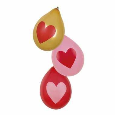 Valentijn rood, roze en gouden hartjes ballonnen 6x stuks kado