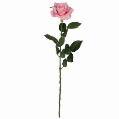 Valentijn roze roos kunstbloem 66 cm kado