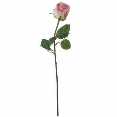 Valentijn roze roos kunstbloem 69 cm kado
