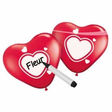 Valentijn schrijfbare hartjes ballonnen 6 stuks kado