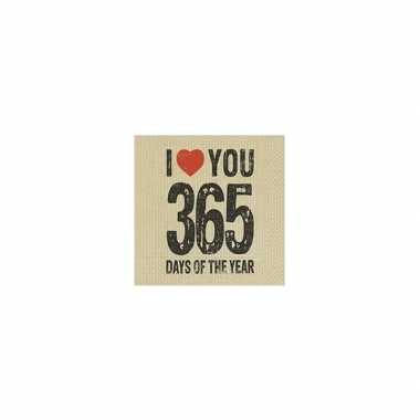 Valentijn servetten i love you 365 days kado
