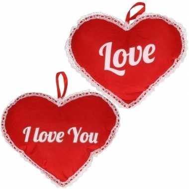 Valentijn set twee harten hangdecoratie 21 x 27 cm kado