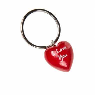 Valentijn sleutelhanger houten hartje 2 cm kado