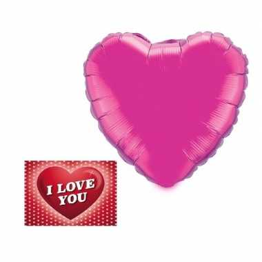 Valentijn valentijnsdag kado folie ballon hart 52 cm met valentijnska