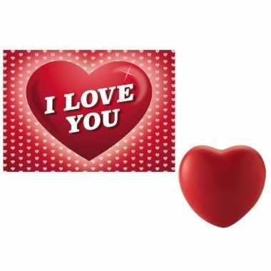Valentijn valentijnsdag kado hartvormige stressbal met valentijnskaar