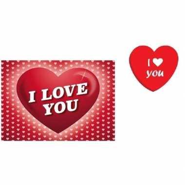 Valentijn valentijnsdag kado i love you snoepjes blikje met kaart