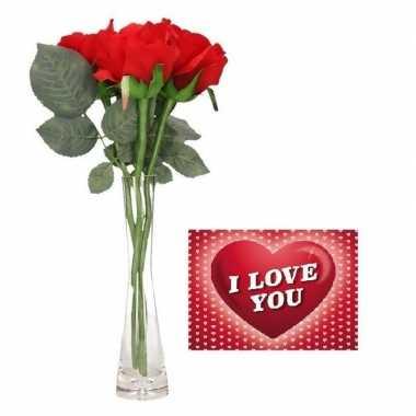 Valentijn valentijnsdag kado vaas met 3 rode rozen met valentijnskaar
