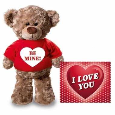 Valentijn valentijnskaart en knuffelbeer 24 cm be mine rood shirt kad