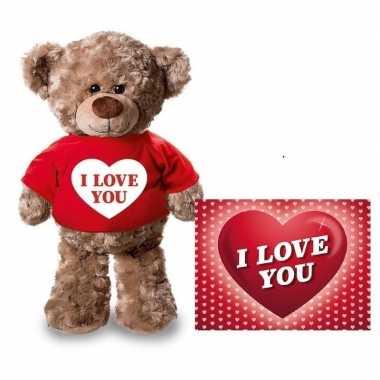 Valentijn valentijnskaart en knuffelbeer 24 cm met i love you rood sh