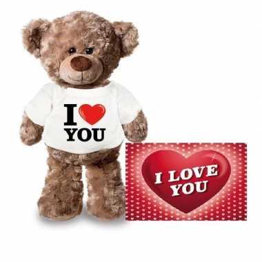 Valentijn valentijnskaart en knuffelbeer 24 cm met i love you shirt k