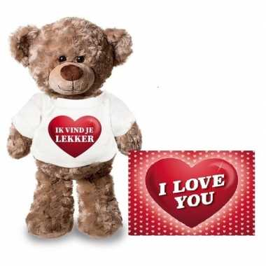 Valentijn valentijnskaart en knuffelbeer 24 cm met ik vind je lekker