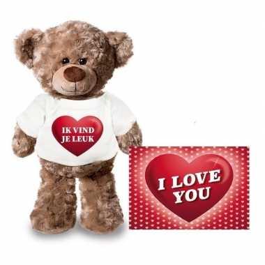 Valentijn valentijnskaart en knuffelbeer 24 cm met ik vind je leuk sh