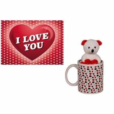 Valentijn valentijnskado beker met knuffelbeer en valentijnskaart