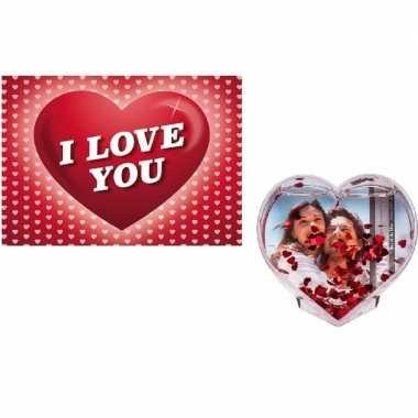 Valentijn valentijsdag kado 3d hart fotolijst met valentijnskaart
