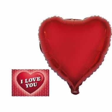 Valentijn valetijnsdag kado folie ballon hart 52 cm met valentijnskaa