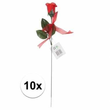 Valentijn voordelige rode rozen 10 stuks kunstbloemen 45 cm kado