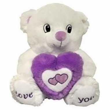 Valentijn wit/paarse beer met hart knuffel love you 31 cm kado