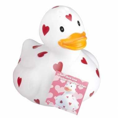 Valentijn witte badeend met hartjes 25 cm kado