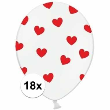 Valentijn witte ballonnen met hartjes rood 18 stuks kado