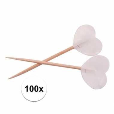 Valentijn witte hartjes cocktailprikkers 100 stuks kado