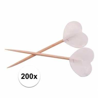 Valentijn witte hartjes cocktailprikkers 200 stuks kado