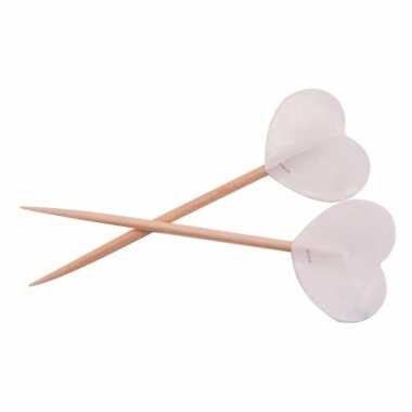 Valentijn witte hartjes cocktailprikkers 50 stuks kado