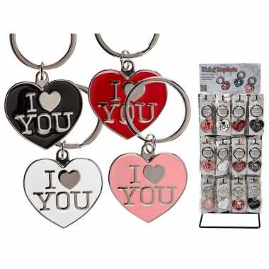 Valentijn zwarte hartjes sleutelhanger i love you kado