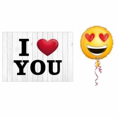 Valentijnskaart met helium ballon smiley hartjesogen 43 cm kado