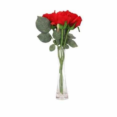 Valentijnskado 3 rode rozen in vaas