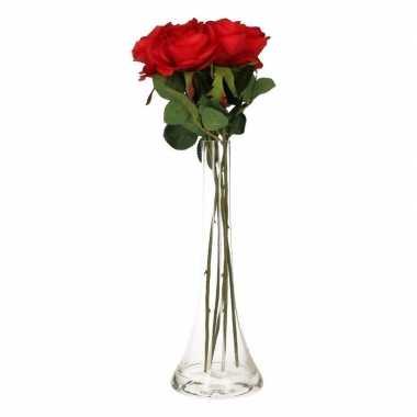 Valentijnskado 5 rode rozen in vaas