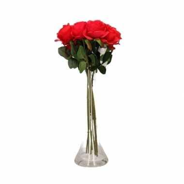 Valentijnskado 8 rode rozen in vaas kado
