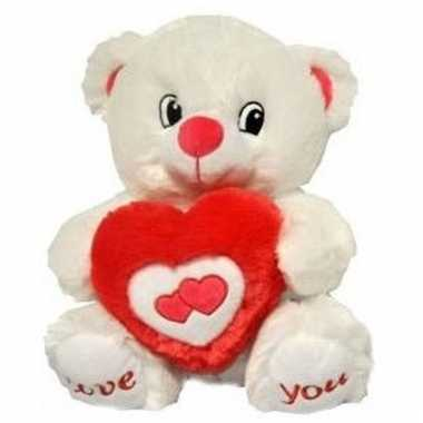 Valentijnskado beer met hart knuffel 31 cm love you kado