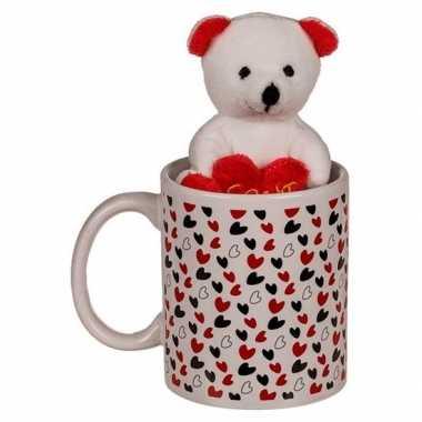 Valentijnskado beker met knuffelbeer