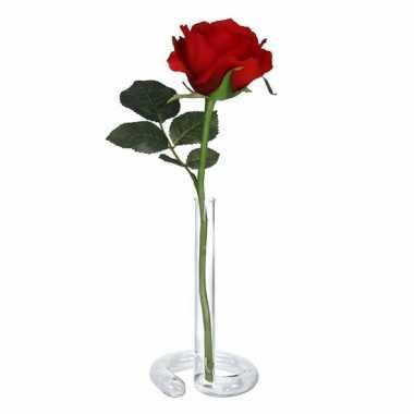 Valentijnskado rode roos 30 cm in vaasje