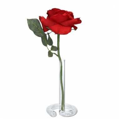 Valentijnskado rode roos 31 cm in vaasje