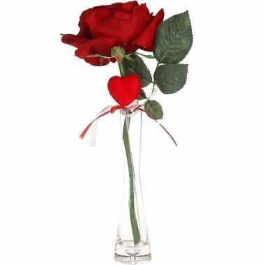 Valentijnskado rode roos 31 cm met hart in smalle vaas