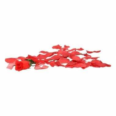 Valentijnskado voordelige rode roos met rozenblaadjes