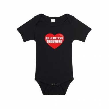 Wil je met papa trouwen huwelijksaanzoek romper zwart voor babys kado