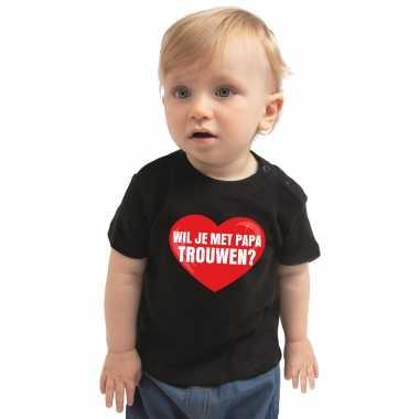 Wil je met papa trouwen huwelijksaanzoek t shirt zwart voor babys kado