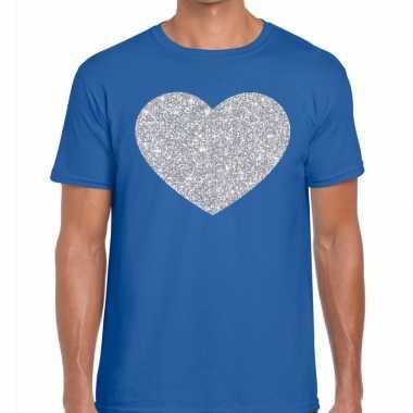 Zilver hart glitter fun t shirt blauw heren kado