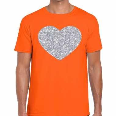Zilver hart glitter fun t shirt oranje heren kado