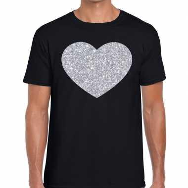 Zilver hart glitter fun t shirt zwart heren kado